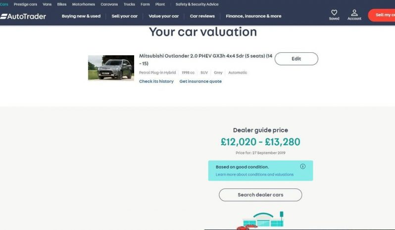 2015 Mitsubishi Outlander 2.0 PHEV GX3h 4×4 5dr £12195 full
